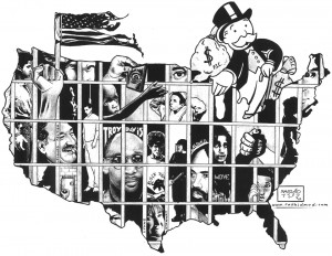 """In this drawing for the National Occupy Day in Support of Prisoners on Feb. 20, 2012, renowned artist and writer Kevin Rashid Johnson illustrates the influence of Wall Street and big money on mass incarceration. – Art: Kevin """"Rashid"""" Johnson, 1859887, Clements Unit, 9601 Spur 591, Amarillo TX 79107"""