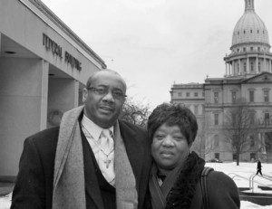 Rev. Pinkney with his wife, Dorothy, his strongest supporter, shortly before he began this stint in prison.