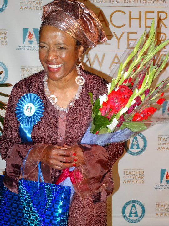Mrs. Tauheedah Wren, Emeryville's 2015 Teacher of the Year, accepts her award at the ceremony in Castro Valley. She was the only African American honoree and the only Muslim. She is also my children's step-mother, whom I have known for over 40 years. – Photo: Wanda Sabir
