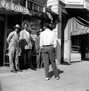 When this picture was taken, the Fillmore was solidly Black. When tens of thousands of Blacks responded to the World War II call for shipyard workers, this is where they lived – and they owned all the businesses, including hotels, theaters, pharmacies and countless bars and clubs. – Photo: David Johnson