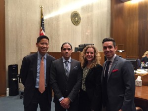 After the verdict was announced, Jesse Perez stood proudly with his legal team: Randall Lee, Katie Moran and Matthew Benedetto. Jesse himself had originally filed the case. – Photo: Katie Moran