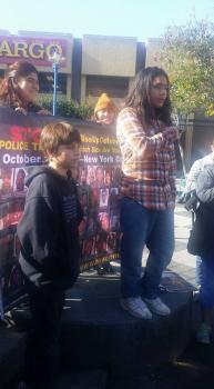 Kimo speaks at the student rally for Mario Woods, as Tibu waits his turn. – Photo: Poor News Network