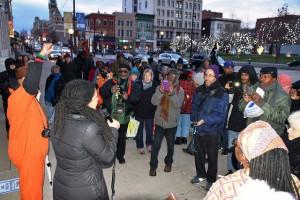 Johanna Fernandez speaks to Mumia's supporters outside the courthouse. – Photo: Joe Piette