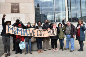 """Supporters gather outside the federal courthouse in Scranton, where they """"rocked the court."""" – Photo: Joe Piette"""
