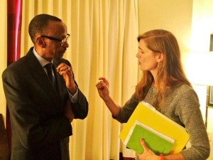 On August 4, 2014, Samantha Power posted this picture of herself with President Kagame to her Twitter account, with a note that said they were discussing regional security and Rwanda's contributions to U.N. peacekeeping forces. This week she called on him to step down at the end of his current term.