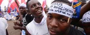 Students in Kinshasa, DR Congo, on Sept. 15, 2015, protest glissement – any attempt by President Joseph Kabila to seek a third term in power. – Photo: Junior Kannah, AFP