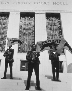 Free Huey rallies outside the Courthouse in Oakland dramatically demonstrated the Black Panther Party's growing power. – Photo: Pirkle Jones