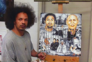 "The artist writes: ""I'm Steven James, proclaimed actually innocent, prolific African American artist, serving a 262-month federal prison sentence. I hadn't heard the full scope regarding the tragedy of Mr. Hugo 'Yogi' Pinell, who served 46 years in solitary confinement (mostly) at Pelican Bay Prison, until one evening when the San Francisco Bay View newspaper was shown to me by several of my Hispanic Northern California associates, 2.2 Man, Indio and Mousey. Then a second paper came to my attention through several Caucasian associates in support of ending solitary confinement. All pointed out the story of Mr. Hugo Pinell and suggested I paint something reflecting the un-breakable guerrilla-like strength Yogi maintained to uphold his pride and dignity. But more so as one who has also been incarcerated for a long term with a loving daughter, my heart goes out especially to the daughter Yogi left behind, who I noticed hugging her father in a visiting photo for the first time after 46 years of separation which moved me dramatically to create this 24 x 24-inch oil painting on canvas titled ""Concrete Jungle"" depicting Hugo Pinell from youth to an aged older man, where long term solitary confinement is forcing men to survive on animal instincts. I'm offering this 'Concrete Jungle' painting as a gift to her from all of us in condolence and as an achievement award of honor and respect to Mr. Hugo Pinell, 'Yogi Bear,' who sacrificed his life to end long term solitary confinement for all races of those incarcerated. May you rest in peace, Yogi."" – Art: Steven James, 34596-044, P.O. Box 2099, Pollock, LA 71467"