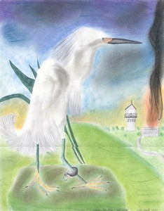 "The artist, Jose Villarreal, calls this ""Free at last … sort of"" and writes, ""So long as one of our loved ones remains back being tortured in SHU, none of us are free!"" despite his joy at having himself been released from SHU to general population at Pelican Bay. The snowy egret, Jose's favorite bird and the national bird of Aztlán, ""sits looking at the SHU, still with its ankle shackled"" to symbolize his comrades ""left to rot"" inside. The work was done with ballpoint pen, colored pencils and pastels. – Art: Jose Villarreal, H-84098, PBSP B4-210, P.O. Box 7500, Crescent City CA 95532"