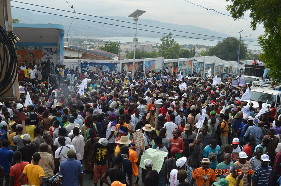 Haitian-supporters-of-Lavalas-Dr.-Maryse-Narcisse-protest-election-fraud-on-25th-anniv-1st-democratic-election-121615-by-FB-Narcisse, Haiti still marching to overturn stolen election – new surge in mass resistance to US-UN interference, World News & Views
