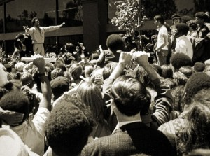 Huey holds his audience in rapt attention, on Aug. 5, 1970.