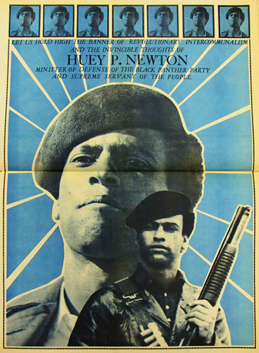 Black Panther Party Minister of Culture Emory Douglas built Huey Newton's public image with artwork in The Black Panther newspaper, which published a half million papers every week.