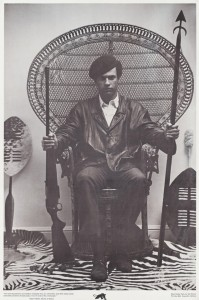 "At the bottom of this iconic photo is written: ""'The racist dog policemen must withdraw immediately from our communities, cease their wanton murder and brutality and torture of Black people, or face the wrath of the armed people.' – Huey P. Newton, Minister of Defence, Black Panther Party for Self Defence, P.O. Box 8641, Emeryville, California"""