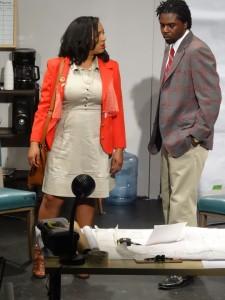"""Actress Venus Morris as Mame Wilks with Stanley Thomas Hunt II as her husband, Harmond Wilks, in August Wilson's """"Radio Golf,"""" directed by Ayodele Nzinga, Ph.D."""