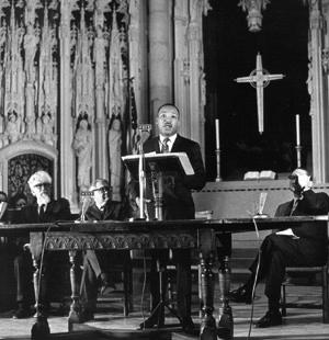 "Dr. King delivers his earthshaking ""Beyond Vietnam"" speech in Riverside Church in New York City on April 4, 1967."