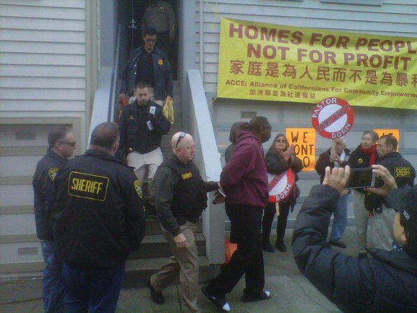 Pastor Dorn was arrested the next day, Jan. 14. Now he has legal expenses on top of all the other problems faced by people targeted for foreclosure and eviction. – Photo: @SaveMidtown