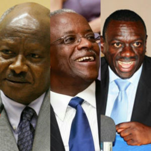 President Gen. Yoweri Museveni, challenger and former Prime Minister Amama Mbabazi, and challenger Dr. Kizza Besigye