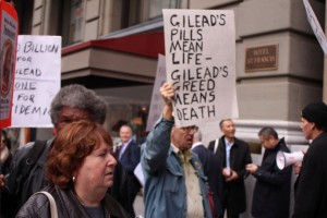 Big Pharma protest 'Gilead's pills mean life, Gilead's greed means death' JP Morgan conf St. Francis Hotel 011216 by Anka Karewicz