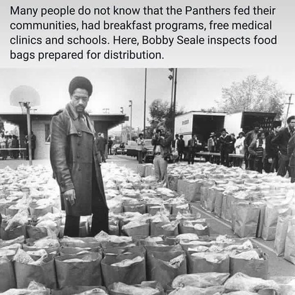 Black Panther Bobby Seale inspects food bags for the hungry graphic