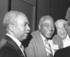 At a convention of the NNPA, National Newspaper Publishers Association, the Black press, are Dr. Carlton Goodlett of the Sun Reporter, Tom Berkley of the Oakland Post and an Ohio publisher.