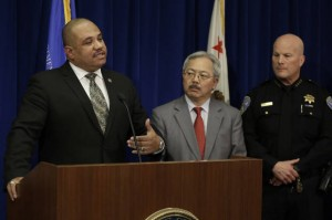 """This photo of U.S. Department of Justice Office of Community Oriented Policing Services (COPS) Director Ronald Davis, San Francisco Mayor Ed Lee, and San Francisco Chief of Police Greg Suhr tops a story on Salon.com about the """"listening session,"""" headlined """"'Baghdad by the Bay': San Francisco is slowly devolving into a crypto police state."""" – Photo: Ben Margot, AP"""