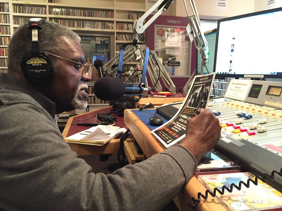 Operating the controls for his show, Jazz Connections, on KRCB-FM, Big Man is right at home spinning jazz, his lifelong dream. – Photo: Gabe Meline