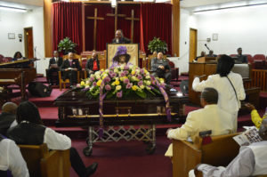 Two beautiful homegoing services were held for Mother Dr. Espanola Jackson. This is the second, at Providence Baptist Church on Feb. 5, 2016. Standing at the front is Minister Madrid Johnson, Mother Jackson's cousin. – Photo: Patricia Winston