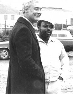 """When a Black construction worker was killed on the job building the sewage treatment plant in BVHP, which residents had strongly opposed until they won mitigation, Mayor George Moscone, shown here with Hawk, James Hawkins, came out to speak to the community. SF Blacks """"voted 100%"""" in those days and got a lot of attention from City Hall. With the Justice for Mario Woods Coalition holding the city in virtual siege and Mayor Ed Lee's hair getting white by the day, maybe that attention will return."""