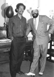 """Muhammad al-Kareem meets with Hamp """"Bubba"""" Banks at his mayoral campaign office."""