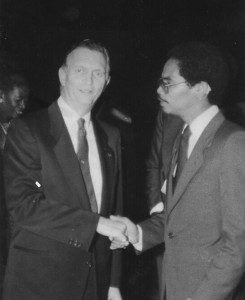Muhammad al-Kareem meets newly elected Jamaica President Edward Seaga at an NNPA convention there in about 1989.