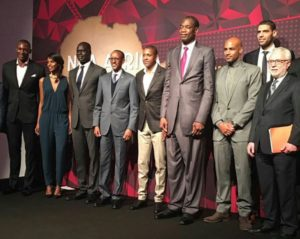 Rwandan President Paul Kagame is fourth from left in this lineup of NBA players, managers and officials at the NBA All Star Weekend festivities in Toronto Feb. 14.
