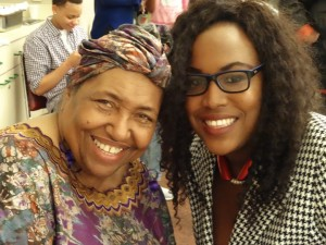 """Sister Njelela Kwamilele, who coordinated the film screening and reception for """"Not for Sale: The Oscar C. Wright Story,"""" directed by Michael Lange, poses with her daughter, Congresswoman Barbara Lee's Communications Manager Tasion Kwamilele. – Photo: Wanda Sabir"""