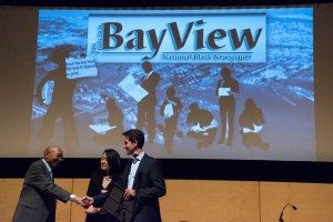 Bay View publisher Dr. Willie Ratcliff welcomes San Francisco Supervisor Jane Kim and California Sen. Mark Leno to the Bay View's 40th anniversary party Feb. 21 at the San Francisco Main Library. Sen. Leno presented the Bay View with a congratulatory plaque. - Photo