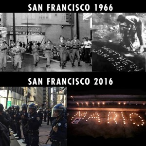 """In September 1966, SFPD shot Bayview Hunters Point resident Matthew """"Peanut"""" Johnson, 16, in the back as he ran when accused of joyriding. Mayor Shelley called the National Guard and their tanks to put down the rebellion that ensued, and Hunters Point became a place feared 'round the world. In December 2016, SFPD executed Bayview Hunters Point resident Mario Woods, 26, firing squad style. The protests that have ensued, including a march down Market Street to Super Bowl City on Saturday, Jan. 30, when marchers were barred from entering by hundreds of militarized cops, have made their hood feared – and respected – at City Hall and everywhere people hear and see Super Bowl news. – Graphic: Eddie Rifkind and Jennifer Raviv"""
