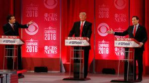 Republican presidential candidates Sen. Ted Cruz, left, and Sen. Marco Rubio both gesture at businessman Donald Trump during the Republican debate in Greenville, South Carolina, Feb. 13. – Photo: © Jonathan Ernst, Reuters