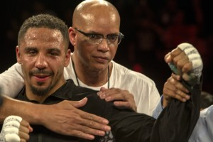 "Andre Ward and Coach Virgil Hunter savor one more win. Hunter is the man who taught a young Andre Ward to ""hit and not get hit."" – Photo: Malaika H Kambon"