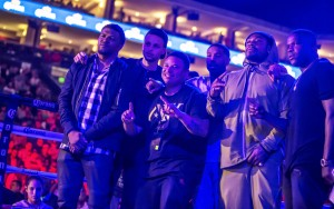 "A host of friends gathered to watch Andre ""SOG"" Ward v. Sullivan Barrera at Oakland's legendary Oracle Arena: ""Squint,"" professional photographer for Andre Ward; Stephen Curry, point guard for the world champion Golden State Warriors; Diante Thompson, childhood friend of Andre Ward; famed actor Michael B. Jordan (""Creed"" and ""Fruitvale Station""); Marshawn Lynch, running back for the Seattle Seahawks; and Frank Gore, running back for the Indianapolis Colts. – Photo: Malaika H Kambon"