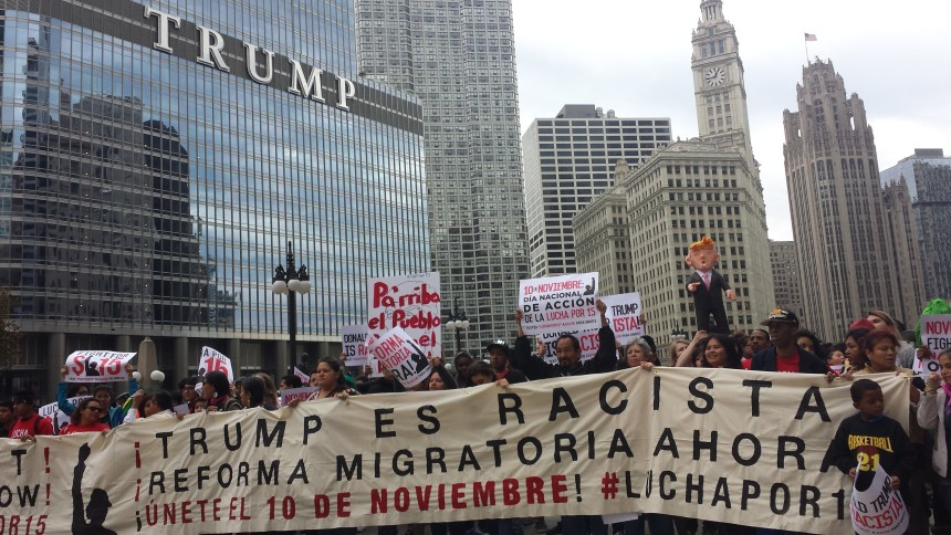 """Trump's campaign rally had been due to take place in the pavilion at the University of Illinois at Chicago (UIC), one of the most diverse universities in the country, situated in the heart of Chicago. In four days, students pulled together a multi-racial coalition strong enough to withstand the police and Trump partisans shouting, """"Go back to Univision,"""" at Latino students."""