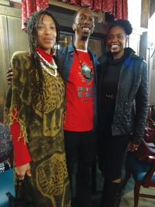 "Ebun Akanke Adesoke, Kwalin Kimathi and Delene Richburg attended the ""Million Man March 20 Year Film Retrospective and Conversation"" at The Altenhiem Feb. 26. Kwalin and Bryant Bolling were key organizers of this event co-sponsored by Maafa San Francisco Bay Area. – Photo: Wanda Sabir"