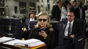 """Hillary Clinton deleted 30,000 personal emails after presenting her official correspondence to the State Department"" is the original caption for this photo. – Photo: AP"