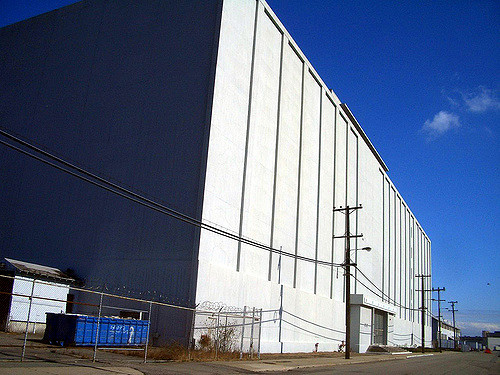 Building 815 at the Hunters Point Shipyard is the windowless former Naval Radiological Defense Laboratory (NRDL) headquarters.