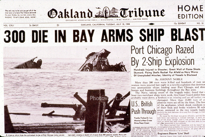 Port-Chicago-explosion-front-page-Oakland-Tribune-071844, Dr. Raymond Tompkins: How and why does pollution poison Bayview Hunters Point? Part 1, Local News & Views