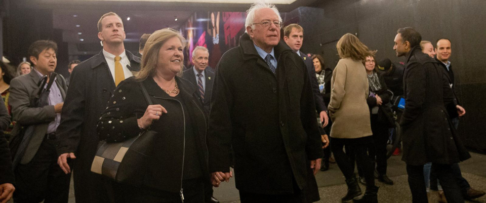 """Directly following his Thursday evening debate with Hillary Clinton, Democratic presidential candidate Bernie Sanders traveled from New York City to Rome on an overnight flight to attend a Vatican-hosted conference on the urgency of building a """"moral economy."""" The Vermont senator was joined by all four of his children and four grandchildren, as well as his wife Jane. – Photo: Mary Altaffer, AP"""
