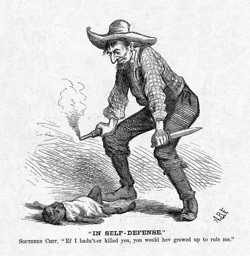 """This editorial cartoon by A.B. Frost ran in the Oct. 28, 1876, edition of Harper's Weekly on page 880. Harp Week explains: """"The white man has killed a black child, and his plea of 'self-defense' exemplifies the perspective among Southern whites that Reconstruction had led to 'black rule.'"""" The cartoon appeared days before that year's bitterly disputed presidential election, on Nov. 7, 1876. Not much has changed in 140 years."""