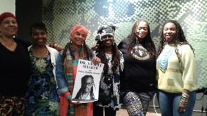 All but one of the sisters who performed gathered for a group photo after delivering their powerful, moving words: Mama Ayanna, Wanda Sabir, Tureeda Mikell, Phavia Kujichagulia, Dr. Ayodele Nzinga and Antique the Edutainer. – Photo: Wanda Sabir