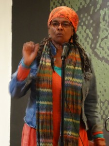 """""""Tureeda Mikell spoke about the system of white supremacy and its tactics in a poem which every Black child needs to hear and use as a counterinsurgency plan,"""" Wanda writes. – Photo: Wanda Sabir"""