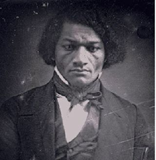 "Frederick Douglass is shown as a young man in this rare photo. His quote titled ""Freedom"" here is from a speech known as ""If There Is No Struggle, There Is No Progress,"" delivered when he was 39. It was reformatted as a poem by the NCTT."