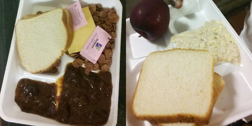 "This is what Alabama prisoners call ""bird feeding."" Prisoners say officials are cutting back on food portions to well below the mandatory calorie count in retaliation for the work strike. – Photo courtesy The Intercept"