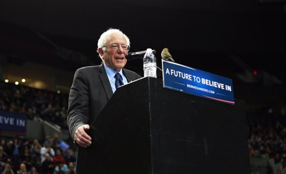 Bernie-Sanders-says-little-bird-is-asking-us-for-world-peace-no-more-wars-Portland-032516-by-Oregonian, Bay View Voters Guide: Cali can make Bernie president if we vote our hopes, not our fears, National News & Views