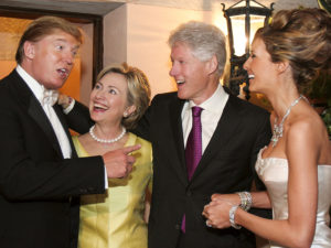 """People Magazine ran this photo in March and commented: """"Back in 2005, Bill and Hillary Clinton were VIP guests at Donald Trump's wedding to his wife Melania – and it sure looks like all four had a pretty good time. … The billionaire businessman has, over the years, given at least $100,000 to the Bill, Hillary and Chelsea Clinton Foundation and made multiple cash donations to Hillary Clinton's various political campaigns before this one."""" – Photo: Maring Photography"""